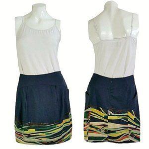 Mint Silk Blend Floral Geometric Skirt w/ Pockets